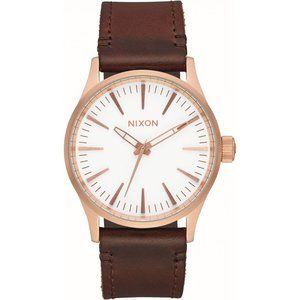 NIXON Sentry Brown Leather & Rose Gold-Tone 38mm W